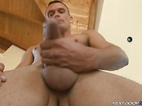 Fully nude hot guy Bobby Brock strokes his dick like mad and shows off his butt