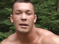 Muscle man John Sebastian jacks off in nature in his bare skin for the camera