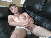 Hot bodied stud Kurt Wild plays with his nice dick with his white jocks on