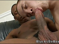 White cock-hungry gay guy Aaron Tyler eats sweet black sausage with appetite