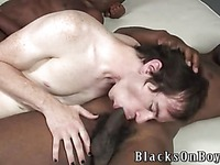 Ivory gay boy Alex blacksonboys gets attacked by two rock hard black dicks at once