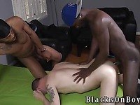 Austin Dallas gets down in his knees to take black gay cocks of Mr Republic and his friend