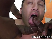 Dark skinned gay guys offer their heavy dicks to white latino Orion Cross