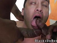 Dark skinned gay guys offer their heavy dicks to white latino Orion Cross