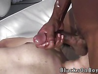 Chocolate gay guys Billy Long and Tyreese get their black dicks ready to fuck Victor Landeros