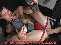 Chase Caedon in red jocks gets his asshole stretched to the max by Michael Brandon