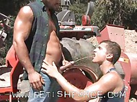 Horny country gay men in jeans Chris Porter and Damien Crosse get their fuck on outdoors