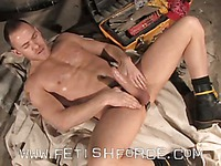 Muscular man Drew Cutler jerks his dick and dildos his tight gay asshole