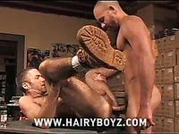 Hairy gay men in boots Antonio Biaggi and Scott Campbell have fun with dildo before fucking