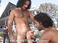 Aybars with long curly black hair has outdoor sex with two horny gay men David V and DO
