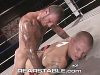 Inked up boxers Brenn Wyson and Ricky Sinz have rough gay sex in the ring