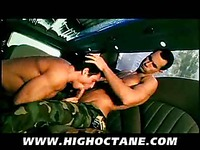 Army men Glenn Santoro and Rogerio Mateo remove their uniform and fuck in a limousine